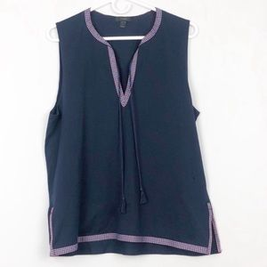 J.Crew Navy V Neck Embroidered Tank Top